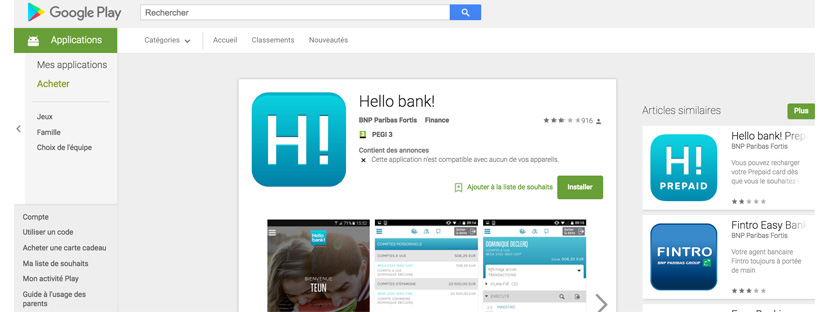 Application mobile Hello Bank decevante